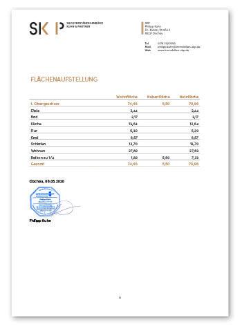 Wohnflächenberechnung Beispiel von SKP Immobilien